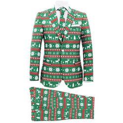 Świąteczny garnitur męski z krawatem, 2-częściowy, 46, zielony