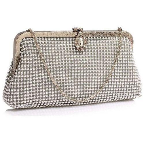 Torebki, Wyjątkowa srebrna torebka wizytowa z koralików - srebrny