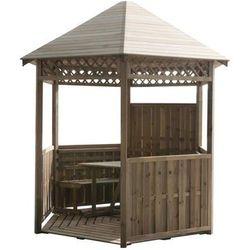 Altana ogrodowa 300 x 261 cm drewniana z ławkami i stołem STELMET