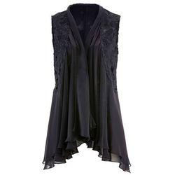 Kamizelka bluzkowa z koronką bonprix czarny