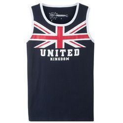 Koszulka bez rękawów bonprix niebieski z nadrukiem - Anglia