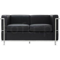 Sofa dwuosobowa SOFT LC2 czarna - włoska skóra naturalna, metal