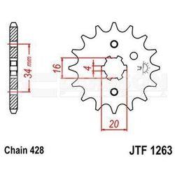 Zębatka przednia JT F1263-13, 13Z, rozmiar 428 2201464 Yamaha DT 175, SR 125