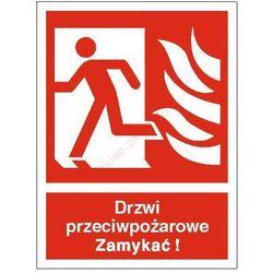 Znak Drzwi przeciwpożarowe. Zamykać! (w lewo)