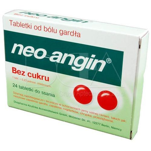 Leki na gardło, Neo-Angin bez cukru 24 tabl.