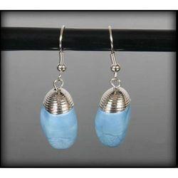 Wiszące kolczyki z niebieskim kamieniem - niebieski