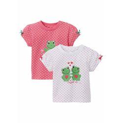 Koszulka niemowlęca (2 szt.), bawełna organiczna bonprix ciemnoróżowo-biały