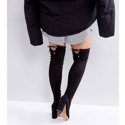 ASOS KARMA Wide Fit Pointy Over The Knee Boots - Black