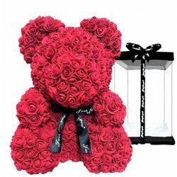 DUŻY Miś z róż z płatków róż + pudełko prezentowe