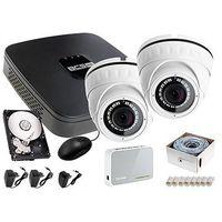 Zestawy monitoringowe, Rejestrator IP BCS BCS-NVR04015ME + 2x Kamera FullHD LV-IP2M2DFWH-II, 1TB + Akcesoria