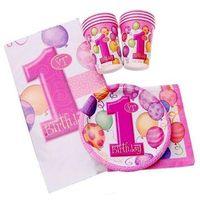 Balony, Zestaw na roczek dla dziewczynki 1st Girl Birthday Baloniki Pink - 25 elementów