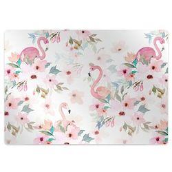Podkładka pod krzesło obrotowe Podkładka pod krzesło obrotowe Flamingi kwiaty