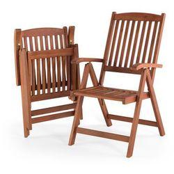 Krzesło ogrodowe drewniane poducha kolorowe pasy TOSCANA