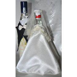 Ubranka na butelkę wódki-falbanka biała róża różow