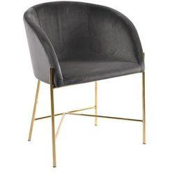 Niezwykle designerski fotel Nelson szary/złota podstawa