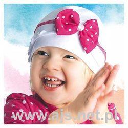 """Czapka AJS 28-076 """"różowa"""" 24h 52-54 cm, różowa z białą kokardą. AJS, 52-54 cm"""