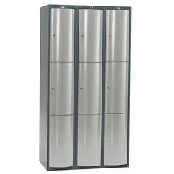 Szafa szatniowa Curve 3 sekcje 9 drzwi 1740x900x550 mm niebieski metali