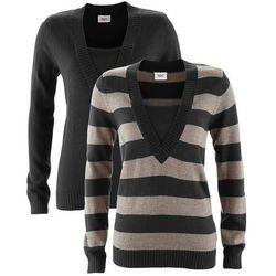 Sweter (2 szt. w opak.) bonprix czarny w paski + czarny