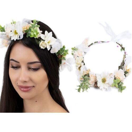Pozostała biżuteria, Wianek na głowę boho kwiaty biały rustykalny ślub