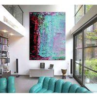 Obrazy, Duże obrazy ręcznie malowane - turkusowa abstrakcja rabat 20%