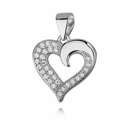 Delikatny rodowany srebrny wisiorek serce z cyrkoniami cyrkonie srebro 925 Z1064C