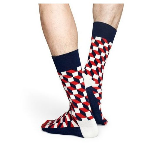 Pozostała moda, Happy Socks Giftbox (4-pary) XBDO09-6000 - Kolorowe Skarpetki - biały ||granatowy ||czerwony