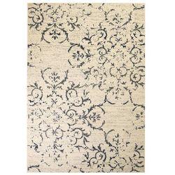 Nowoczesny dywan, wzór kwiatowy, 160 x 230 cm, beżowo-niebieski
