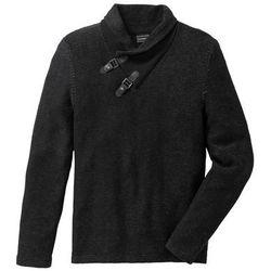 Sweter z szalowym kołnierzem Slim Fit bonprix czarno-antracytowy melanż