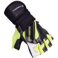 Odzież fitness, Skórzane rękawice do ćwiczeń fitness na siłownie inSPORTline Perian, Czarno-żółty, S
