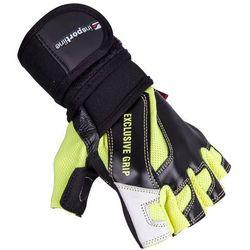 Skórzane rękawice do ćwiczeń fitness na siłownie inSPORTline Perian, Czarno-żółty, L