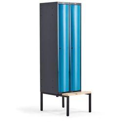 Metalowa szafa ubraniowa CURVE, z ławeczką, 2x1 drzwi, 2120x600x550 mm, niebieski