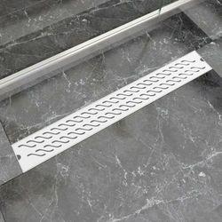 vidaXL Kratka odpływowa, liniowa, 830x140 mm, wzór fali, stal nierdzewna Darmowa wysyłka i zwroty
