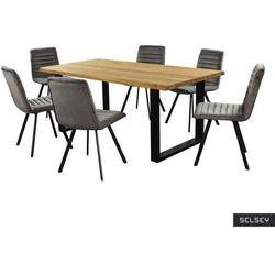 SELSEY Stół Lemucto dąb olejowany 180x95 cm z sześcioma krzesłami Kimmy ciemnoszarymi