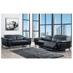 Sofa 3+2 z elektryczną funkcją relaksu ze skóry AZIDEE - Kolor czarny