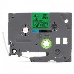 Taśma Brother TZe-D61 36mm x 5m fluorescencyjna zielona czarny nadruk - zamiennik | OSZCZĘDZAJ DO 80% - ZADZWOŃ!