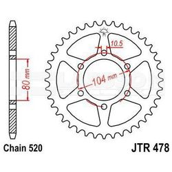 Zębatka tylna stalowa JT 478-46, 46Z, rozmiar 520 2300348 Kawasaki ZX-9R 900, ZX-6R 636