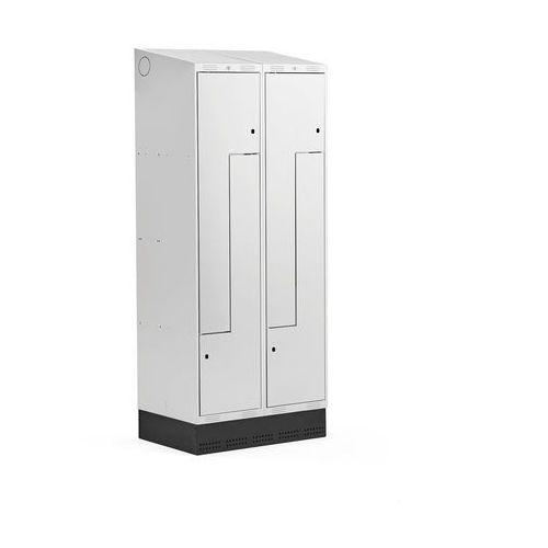 Szafki do przebieralni, Szafka ubraniowa typu Z, CLASSIC, cokół, 2 moduły, 4 drzwi, 2050x800x550 mm, szary