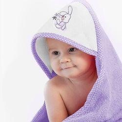 Ręcznik z kapturkiem 90x90 ZWOLTEX królik fioletowy