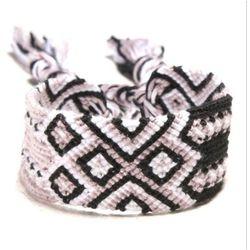 BRANSOLETKA damska MULINA sznurek black white pink - BLACK WHITE