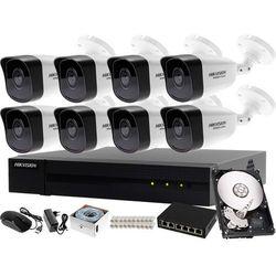 Monitoring zewnętrzny, wewnętrzny domu jednorodzinnego Hikvision Hiwatch Rejestrator IP HWN-4108MH + 8x Kamera FullHD HWI-B120 + Akcesoria