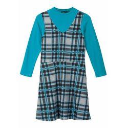 Shirt dziewczęcy z golfem + sukienka (2 części) bonprix jasnoszary melanż - czarno-ciemnoturkusowy
