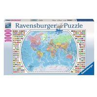 Puzzle, RAVEN. 1000 EL. Mapa polityczna świata - Ravensburger. DARMOWA DOSTAWA DO KIOSKU RUCHU OD 24,99ZŁ