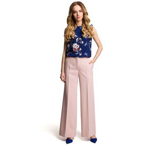 Spodnie damskie, Eleganckie Szerokie Pudrowe Spodnie w Kant