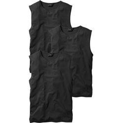 Shirt bez rękawów (3 szt.) Regular Fit bonprix czarny + czarny + czarny