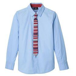Koszula z krawatem (2 części) Slim Fit bonprix perłowy niebieski