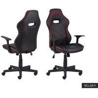 Fotele dla graczy, SELSEY Fotel gamingowy Nauders czarno-czerwony