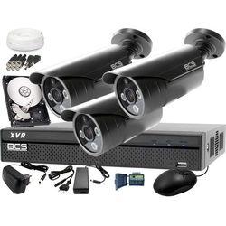 Zestaw do monitoringu z podglądem nocnym: Rejestrator BCS-XVR0401 + 3x BCS-TQE3500IR3-G + Dysk 1TB + Akcesoria