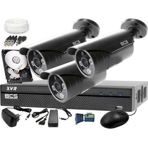 Zestawy monitoringowe, Zestaw do monitoringu z podglądem nocnym: Rejestrator BCS-XVR0401 + 3x BCS-TQE3500IR3-G + Dysk 1TB + Akcesoria