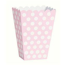 Pudełka na popcorn jasnoróżowe w białe kropki - 8 szt.