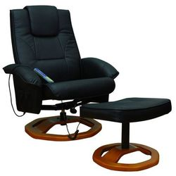 vidaXL Fotel do masażu, Resoga, z podnóżkiem, czarny Darmowa wysyłka i zwroty
